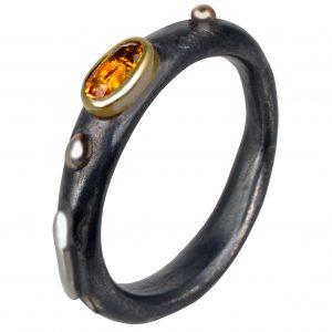 Sidabrinis originalus sužadėtuvių žiedas su natūraliu citrinu