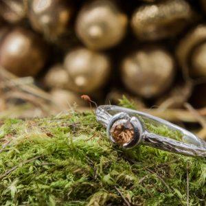 Rodžiu dengtas sidabrinis žiedas su berilu