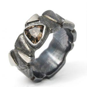 Unisex žiedas su dūminiu kvarcu