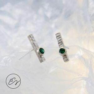 Sidabro auskarėliai su žaliais turmalinais
