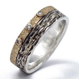 Sidabro ir aukso žiedas su briliantais