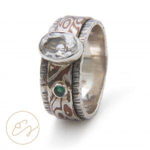 Originalus Mokume Gane žiedas su kalnų krištolu